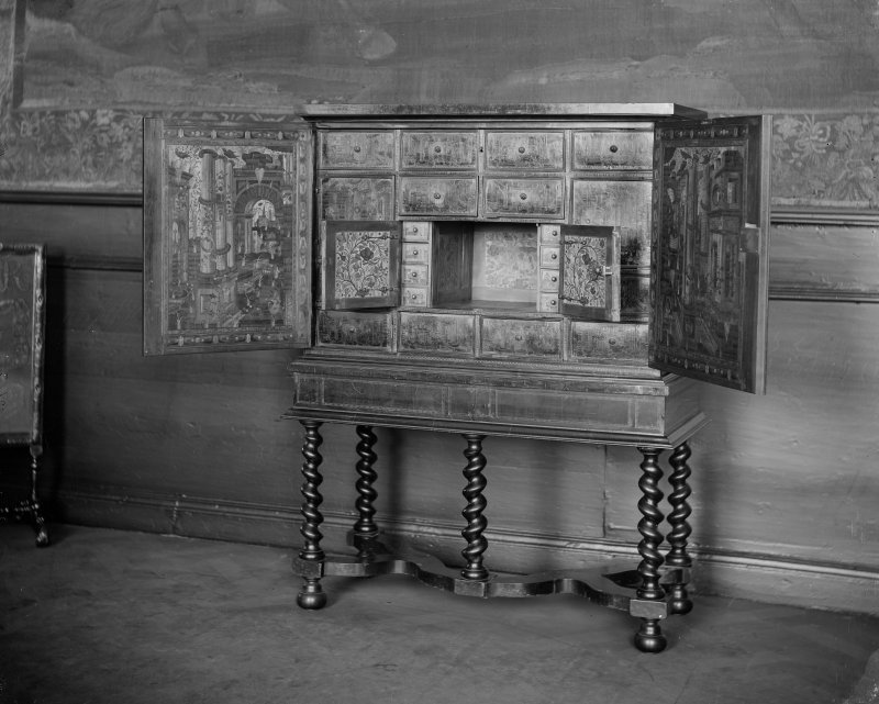 Interior-detail of decorated cabinet with drawers inside, in Duchess of Hamilton's Drawing Room in Holyrood Palace