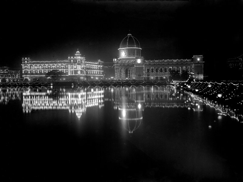 General Post Office and Royal Insurance Building from across the Lal Dighi tank, Kolkata, lit for the British royal visit.