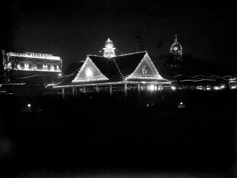 Pavilion, probably the tram station at the Chowringhee Esplanade crossing, lit for the British royal visit in 1912.