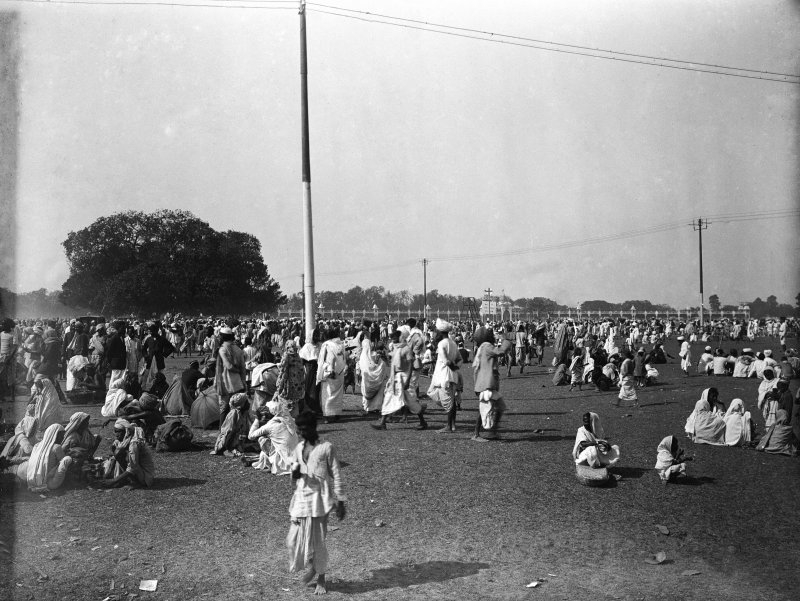 Group gathered on the Maidan, Kolkata.  Possibly as part of a pilgrimage visit.
