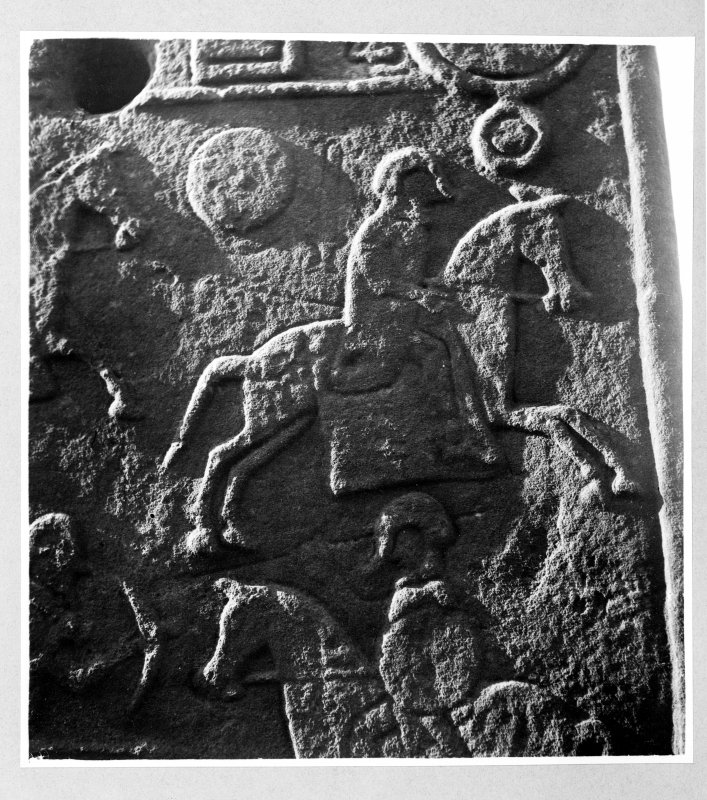 Aberlemno no 2, the Churchyard Stone. Detail of reverse showing fleeing horseman.