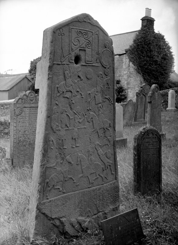 Aberlemno no 2, the Churchyard Stone. Reverse of cross-slab, showing Pictish symbols and battle scene.