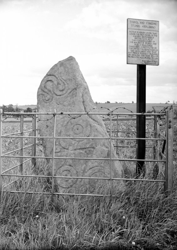 Aberlemno symbol stone no 1, enclosed by protective railing and barbed wire