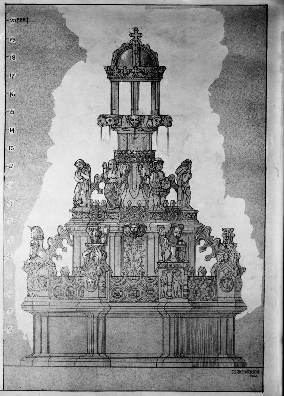 Photographic copy of drawing showing detail of fountain.