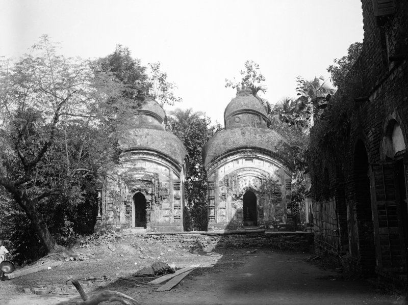 Two small typical Bengali temples. Unknown location, but possibly Bawali near the Radhanath temple.
