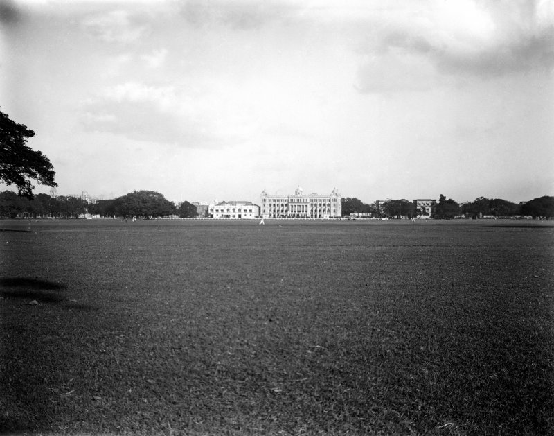 View across the Maidan towards the 'new' Bengal Club, Kolkata. Built in 1908, designed by the architect J Vincent Esch, now demolished.