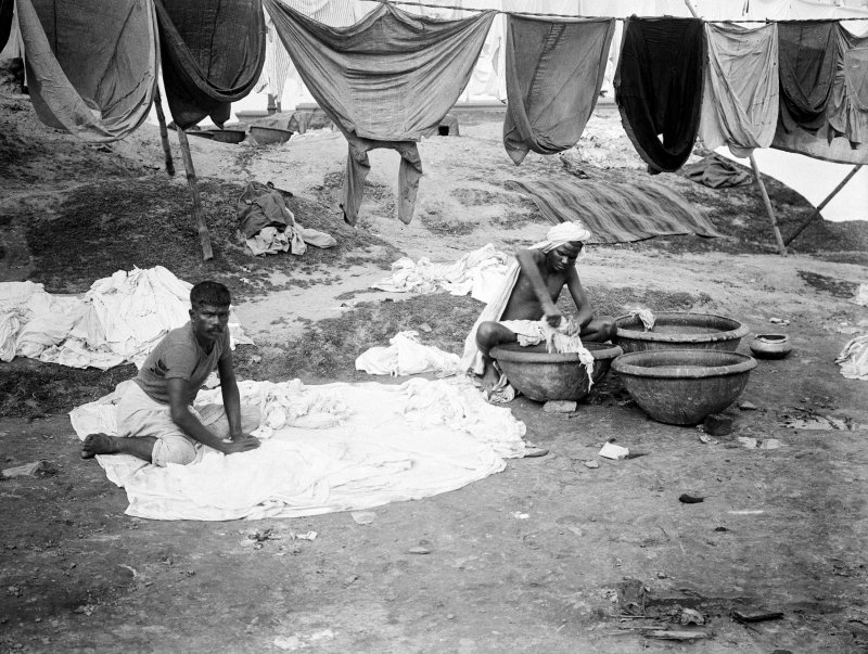 Washermen at a dhobi ghat.