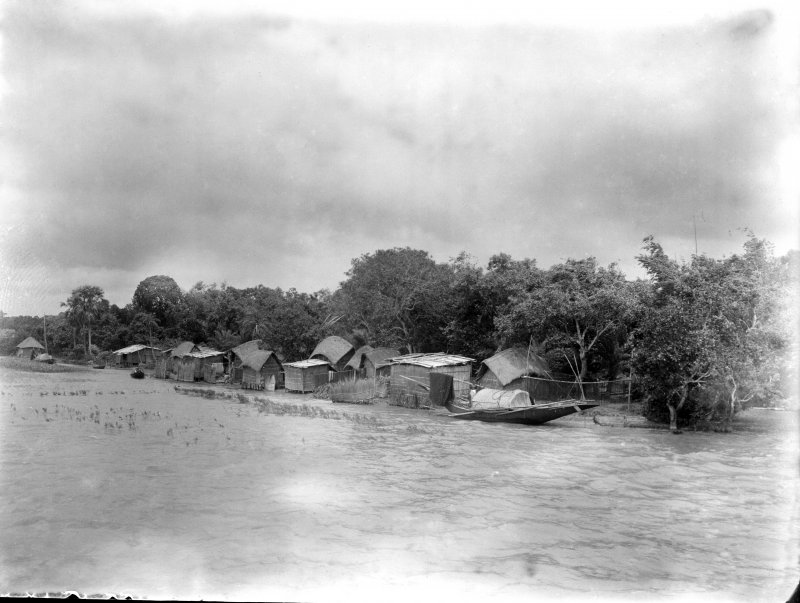 Village seen from water. Unknown location, possibly either a large lake or in the Sundarbans.