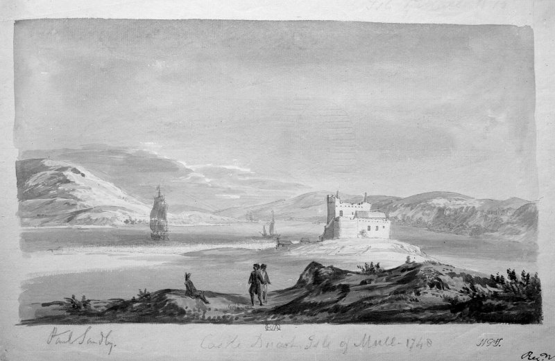 Photograph of drawing showing General View. insc. 'Paul Sandby.  Castle Duart, Isle of Mull - 1748.  NGoH'