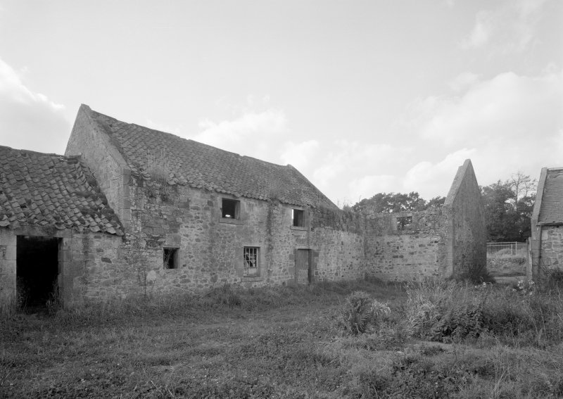 Broadwoodside Farm. View across courtyard from SE, showing NW end of steading (including threshing barn to left).