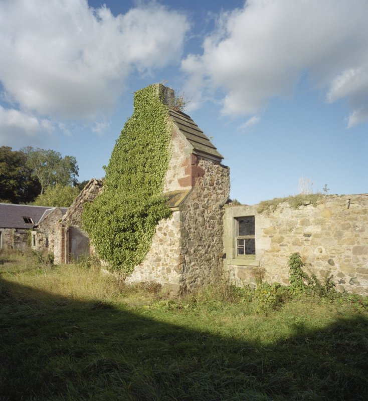 Broadwoodside Farm. View of remains of gable and ingleneuk from S.