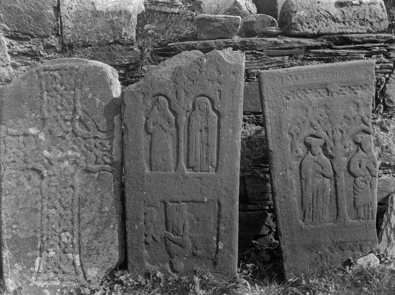 Iona, Iona Nunnery. View of cross fragments L30, L75 bottom and L75 top.