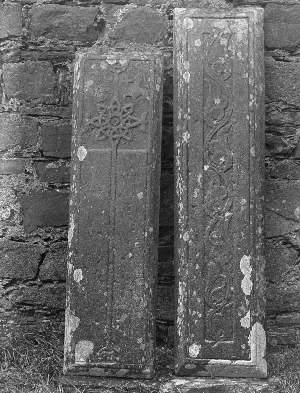 Iona, Iona Nunnery. View of sculptured stones L39 and L36.