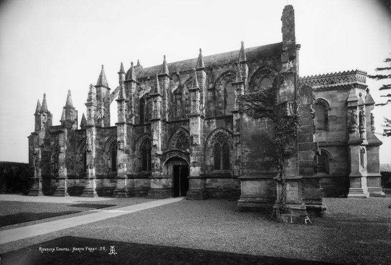Roslin, Roslin Chapel. View from North. Insc: 'Rosslyn Chapel North Front. 23'