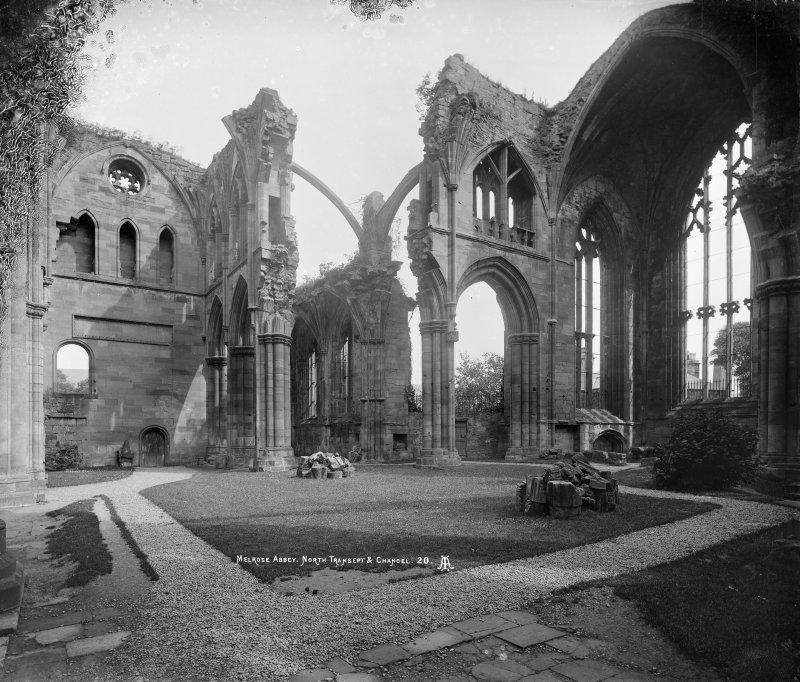 Melrose Abbey. View of N transept and chancel.