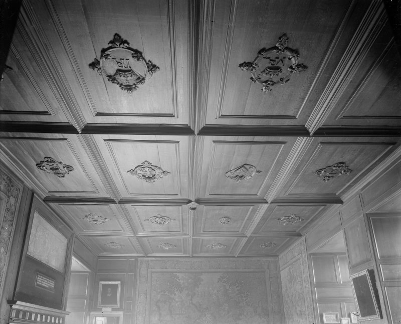Interior-general view of carved monograms on ceiling of Mary Queen of Scots' Audience Chamber in Holyrood Palace.