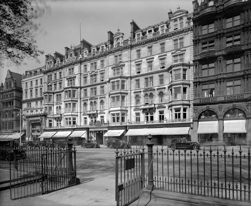 View from south east of the Royal Hotel also showing 52 - 57 Princes Street.