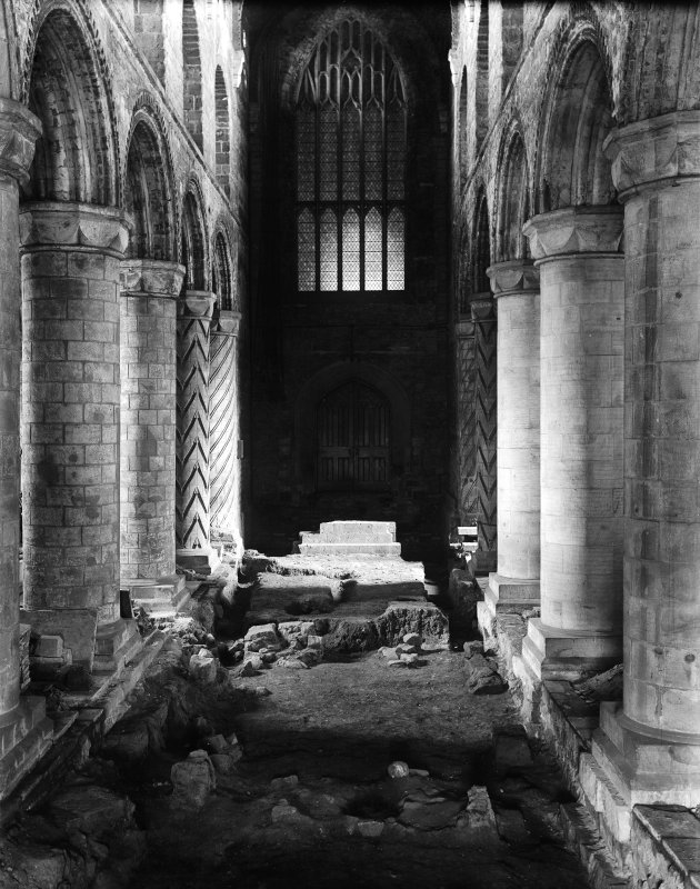 View looking East of the nave and excavation at Dunfermline Abbey in 1911.