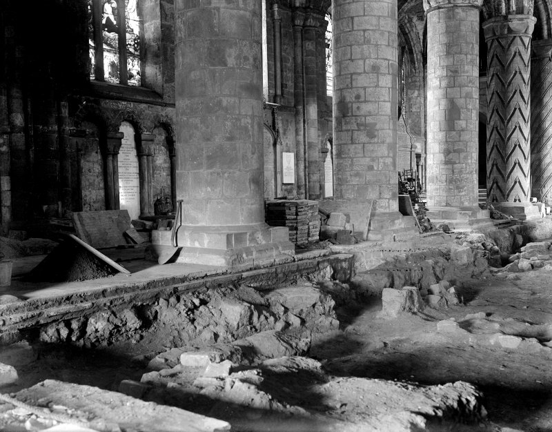 Excavations, looking West from nave