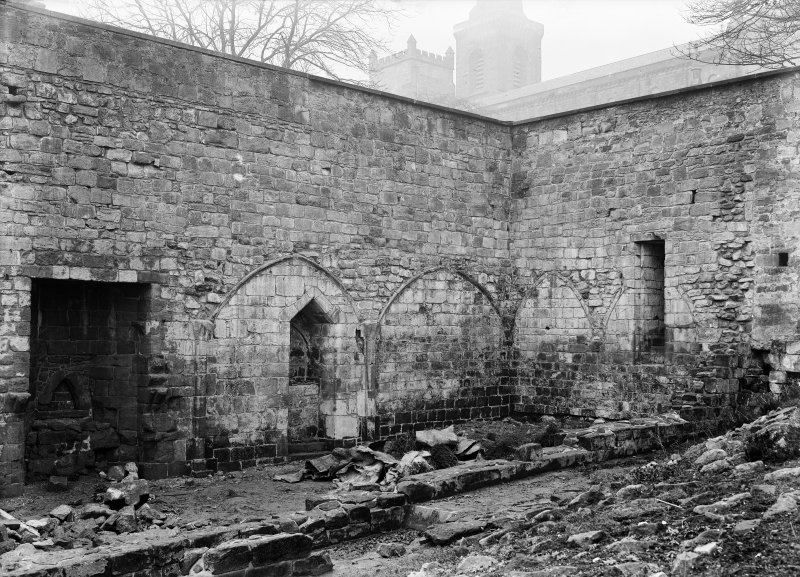 Interior view North of West walls of rere dorter after repairs