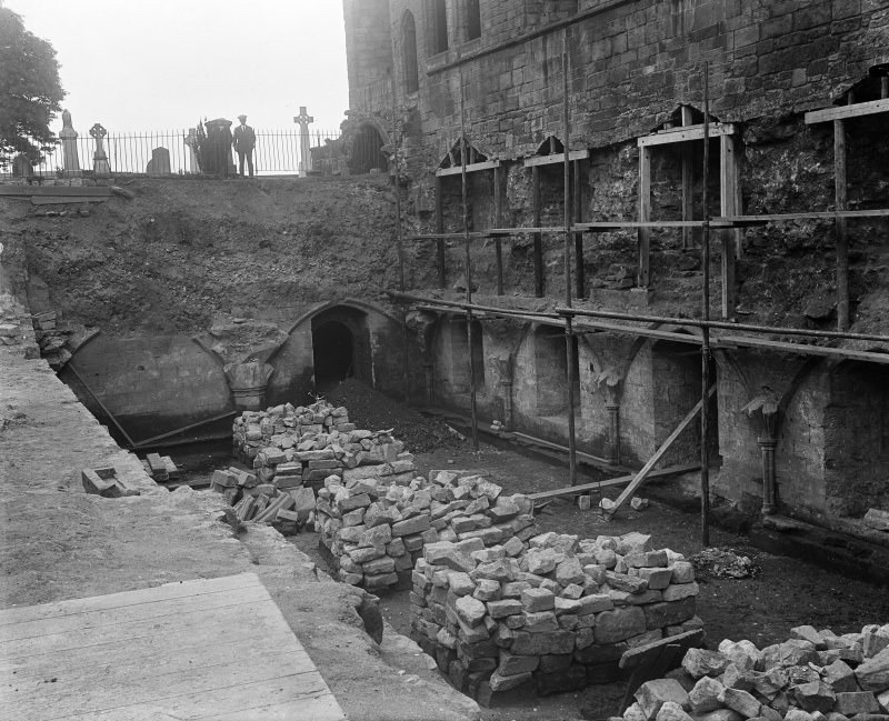 View of excavations of the refectory at Dunfermline Abbey in 1923.