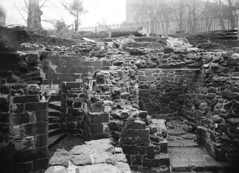 View of circular staircase after repairs or pointing 1913