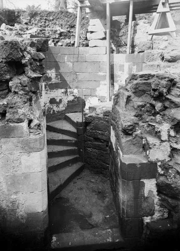 View of circular stairway during repairs of 1912
