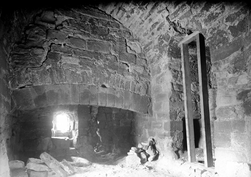 Interior. View of fireplace in old tower.