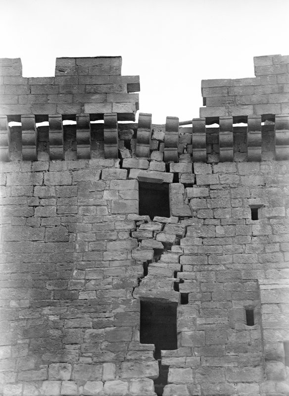 Detail of old tower wall and battlements.