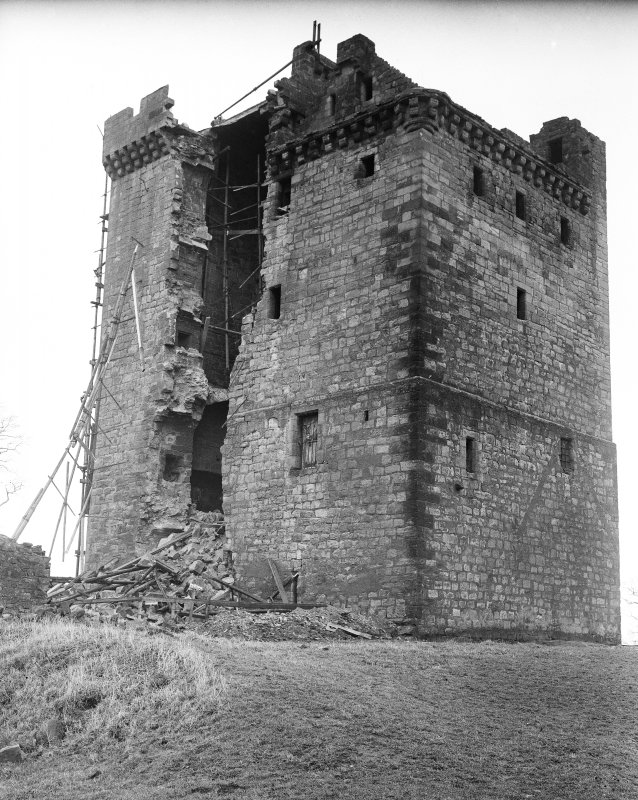 View from SE showing removal of damaged stonework.