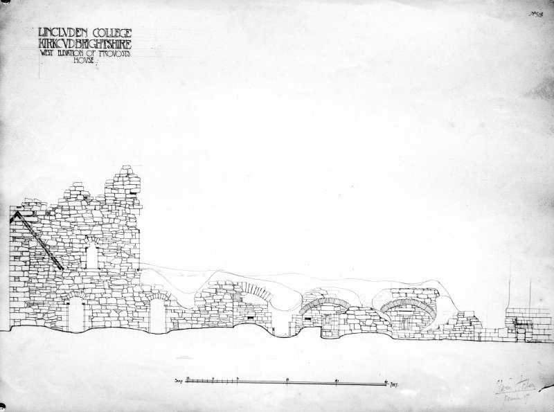 Photographic copy of drawing showing W elevation of Provost's house.