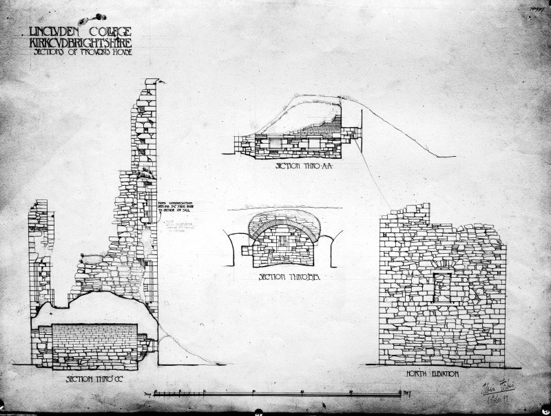 Photographic copy of drawing showing section of provost's house.