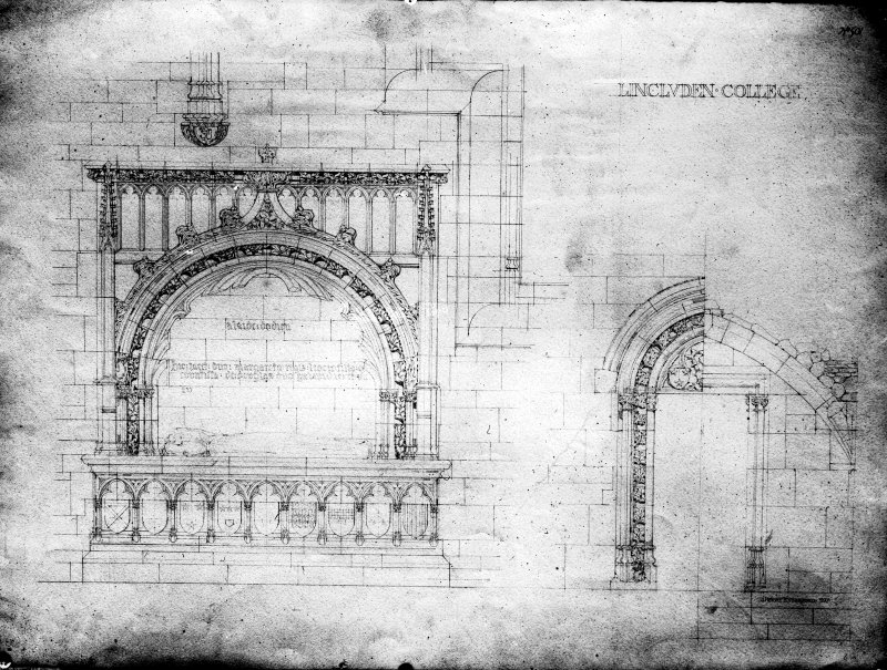 Photographic copy of drawing showing elevation of tomb and sacristy door.