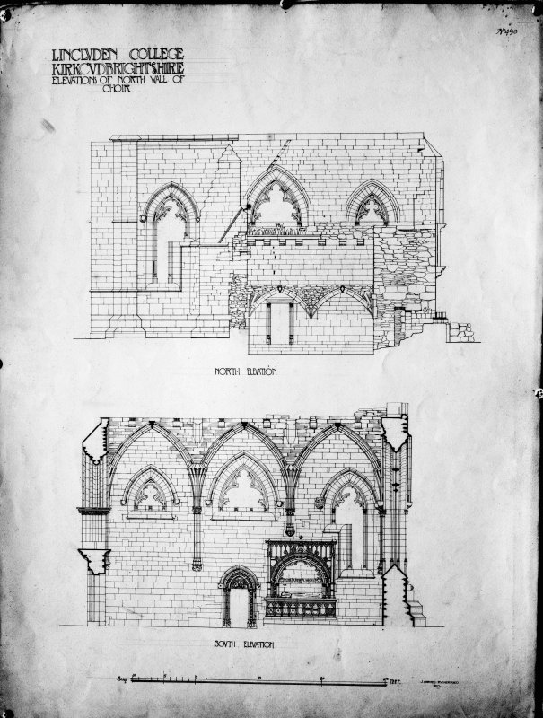 Photographic copy of drawing showing elevations of N wall of choir.