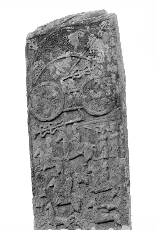 Aberlemno no 3, the Roadside cross-slab. Detail of upper portion of reverse, showing Pictish symbols, and hunting scene.