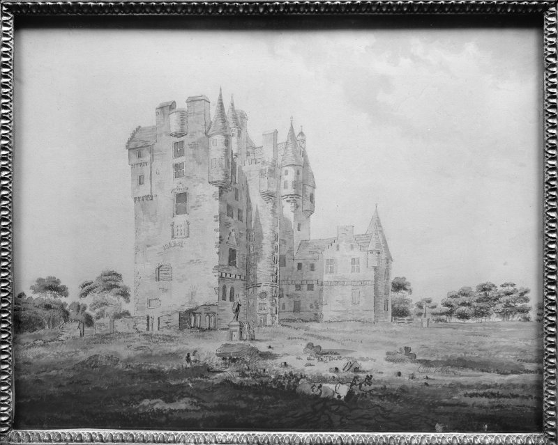 Photographic copy of watercolour showing general view from SW.