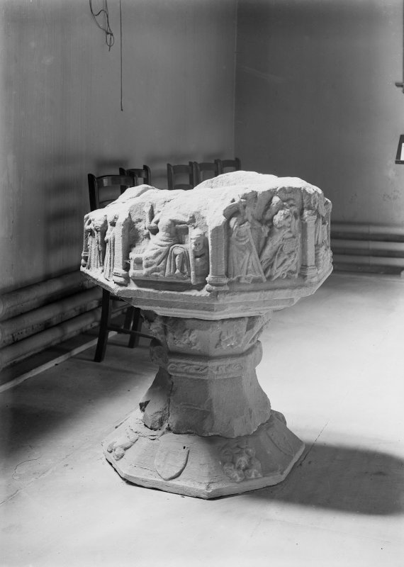 Interior. View of font.