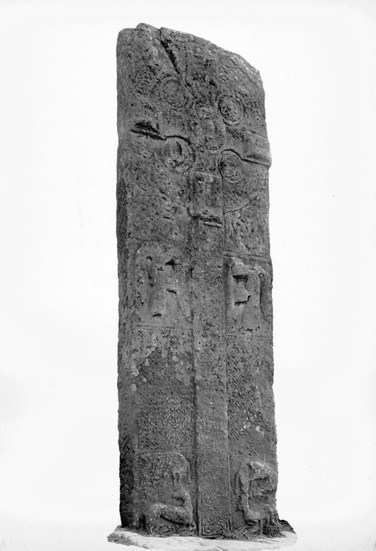 Aberlemno no 3, the Roadside cross-slab. Detail of face, showing cross and mourning angels.