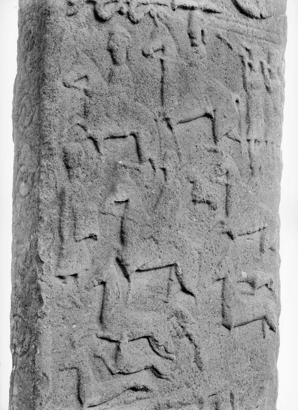 Reverse of Aberlemno no 3, the Roadside cross-slab, showing a detail of the hunting scene.