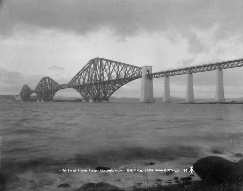 General view from the South West. Insc. 'The Forth Bridge. Length including Viaduct 8098 Ft. Height 369 Ft. Spans 1710 Ft each.  165.'