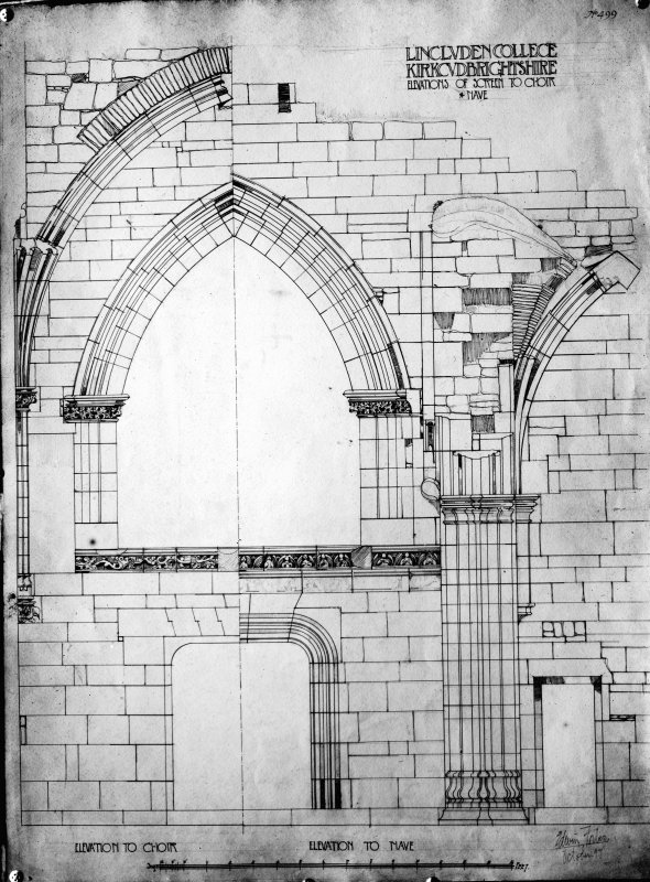 Photographic copy of drawing showing elevations of choir screen.