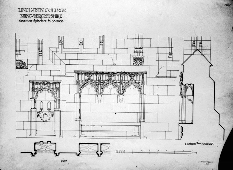Photographic copy of drawing showing elevation of piscina and sedilia.