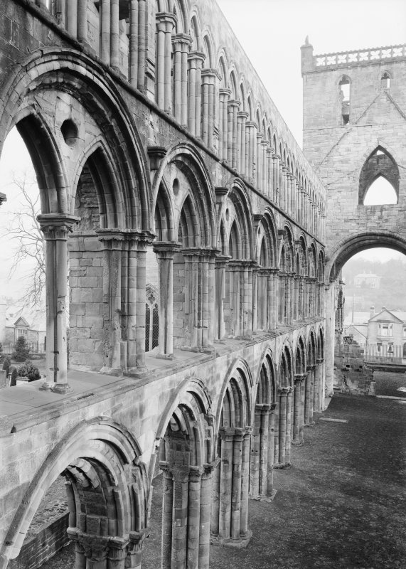 Jedburgh Abbey Interior view of abbey church. Second arcade level, N side of choir, nave and crossing.
