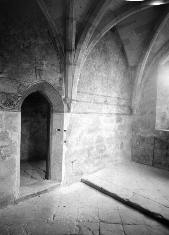 Interior. View of chapter house wall showing evidence of painting.