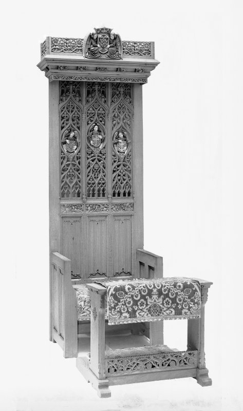 View of carved ecclesiastical chair.