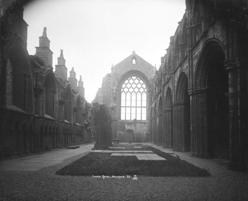"General view of East end of Nave in Holyrood Abbey Insc. ""Chapel Royal, Holyrood. 52. AI."""