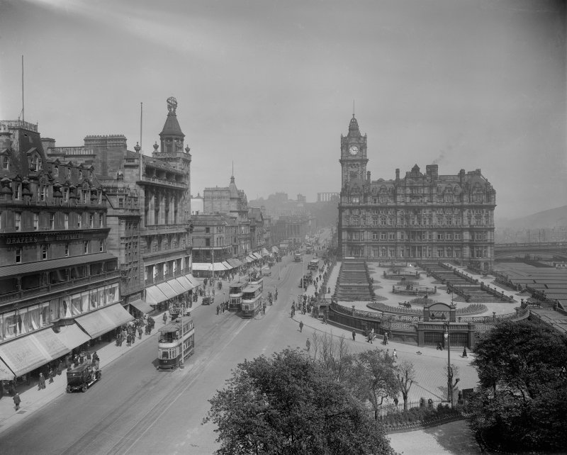 View looking east from Scott Monument inscr; 'EDINBURGH. CALTON HILL AND WAVERLEY MARKET FROM SCOTT MONUMENT   M&Co' showing the buildings on the site before North British Hotel