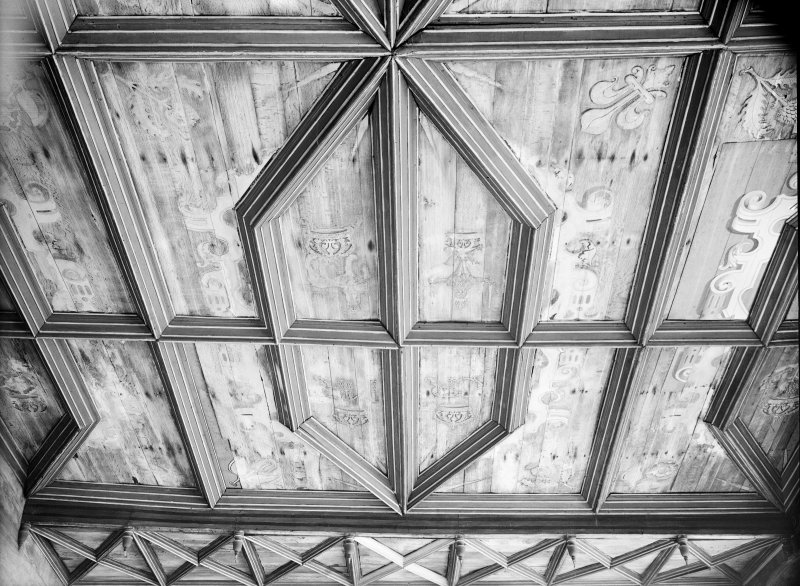Interior. South range. Second floor. Detail of chapel ceiling.