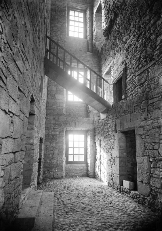 Huntingtower Castle. View of wooden stair connecting East and West portions.