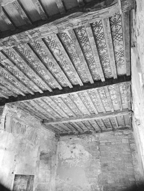 Huntingtower Castle. View of painted ceiling before repairs.